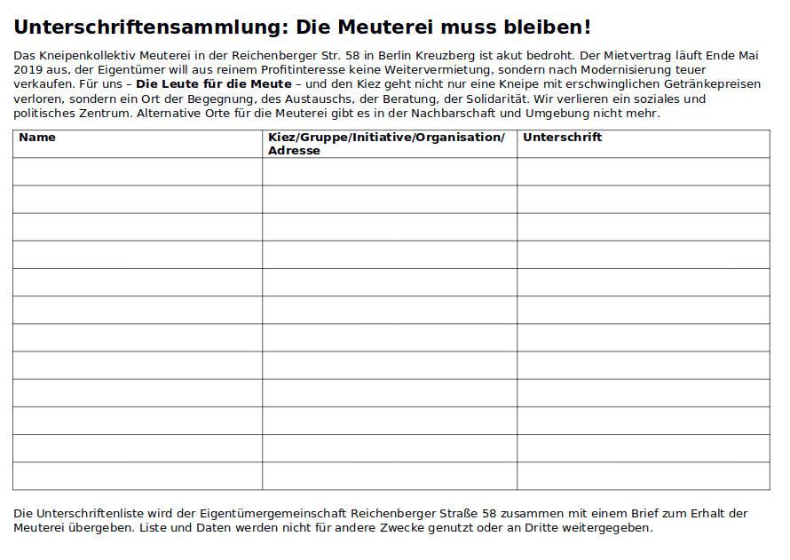 Screenshot Unterschriftenliste